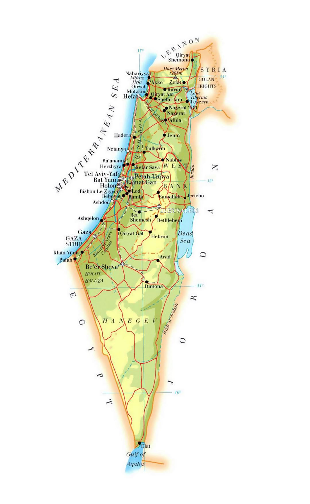 Detailed elevation map of Israel with roads, cities and airports
