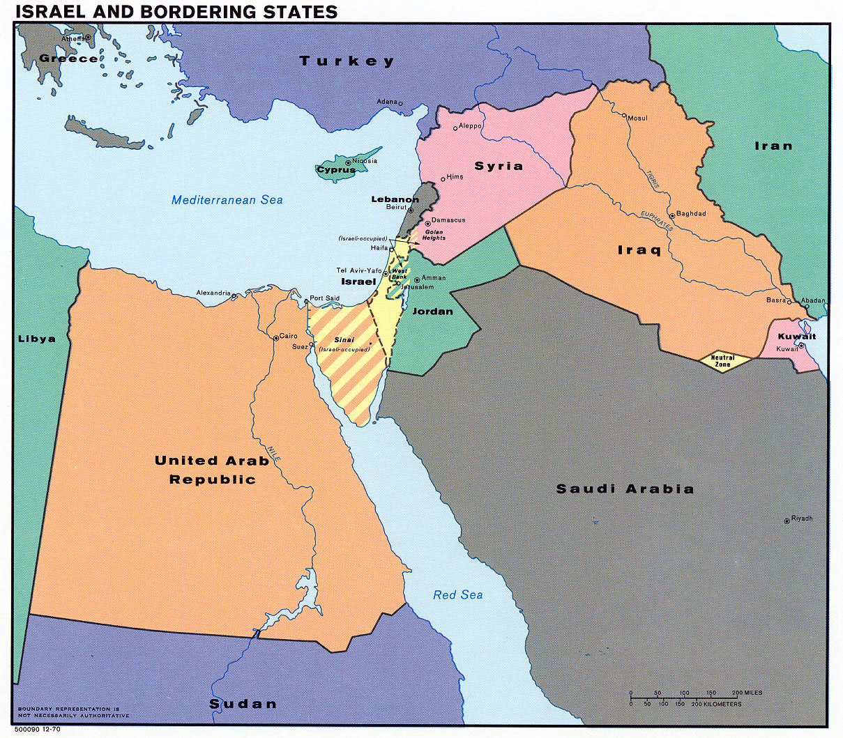 Detailed Map Of Israel And Bordering States 1970 Israel Asia