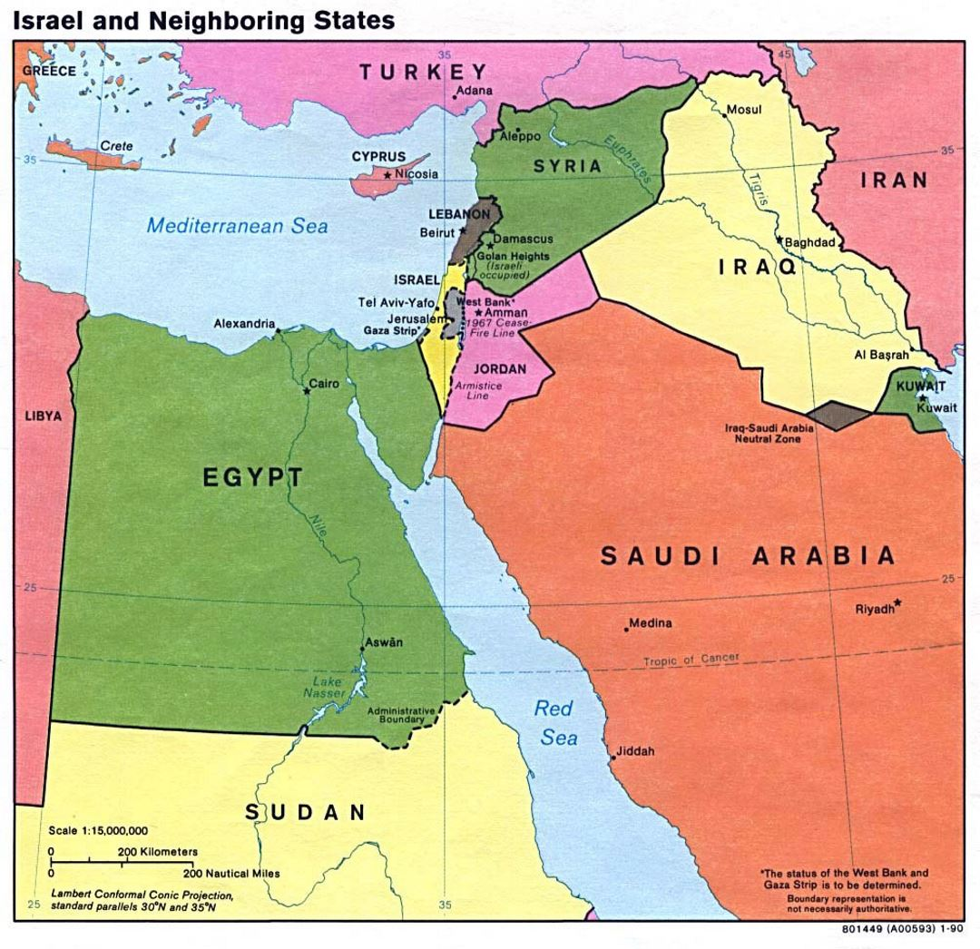 Map Of Asia Israel.Detailed Map Of Israel And Neighboring States 1990 Israel Asia