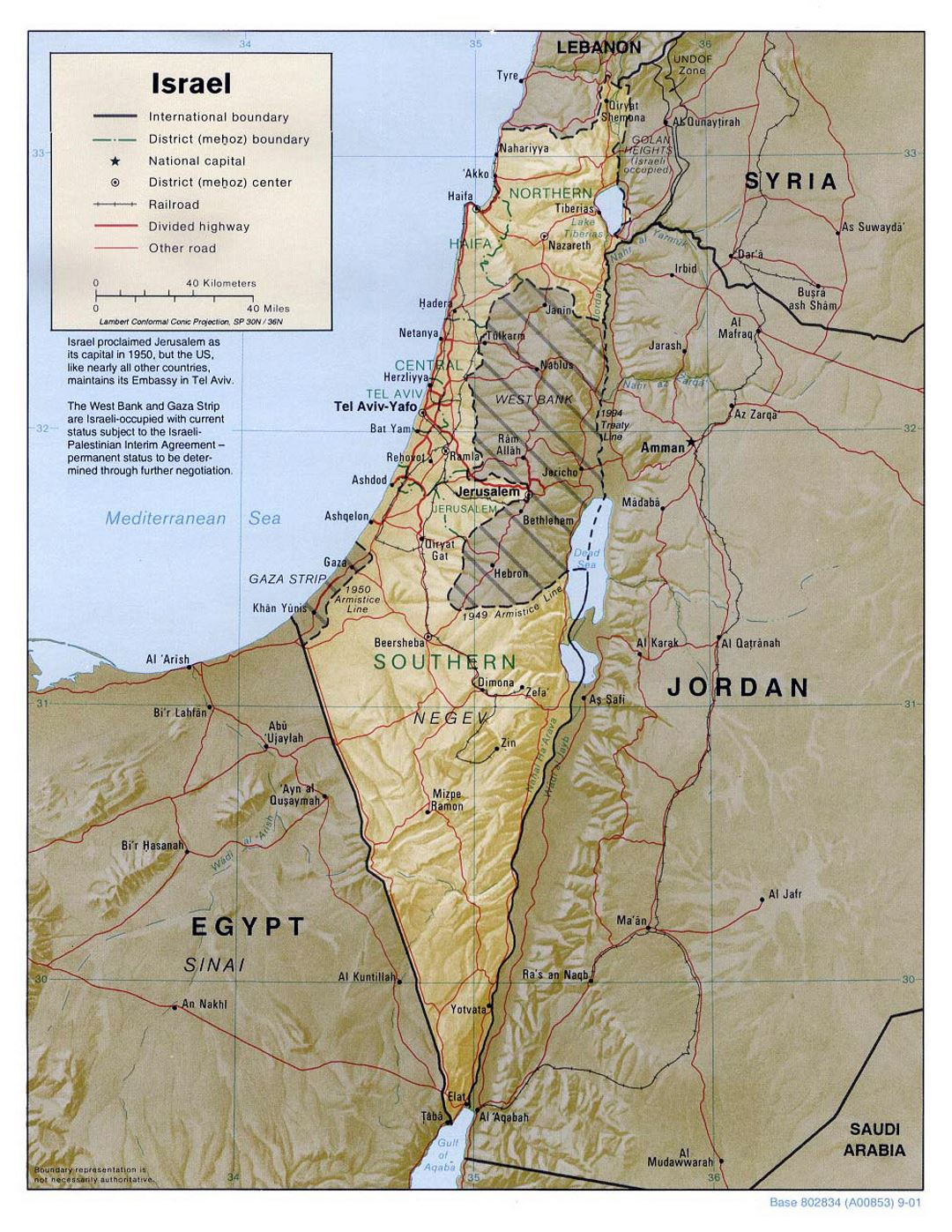 Detailed political and administrative map of Israel with relief, roads, railroads and major cities - 2001
