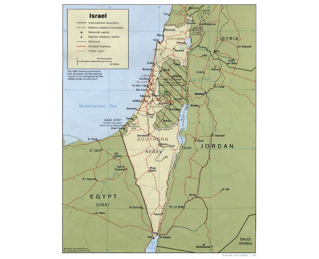 Detailed political and administrative map of Israel with roads, railroads and cities - 1988
