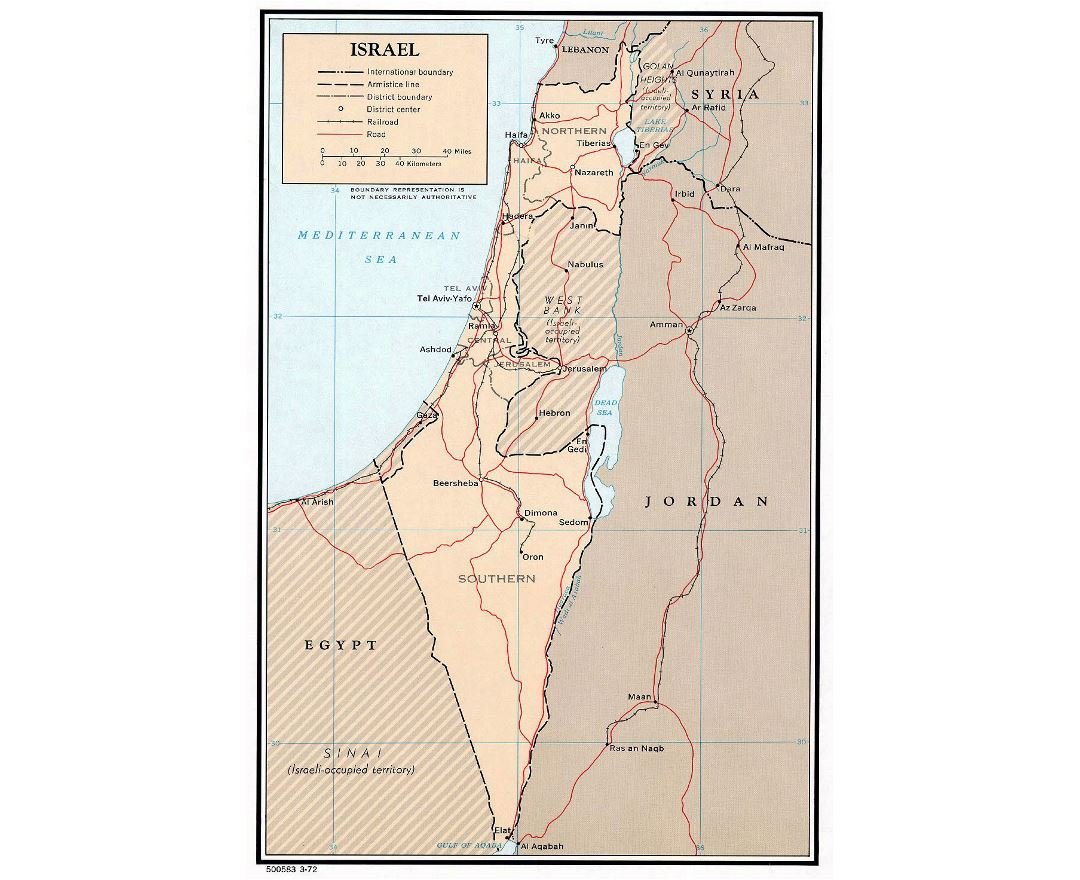 Detailed political and administrative map of Israel with roads, railroads and major cities - 1972