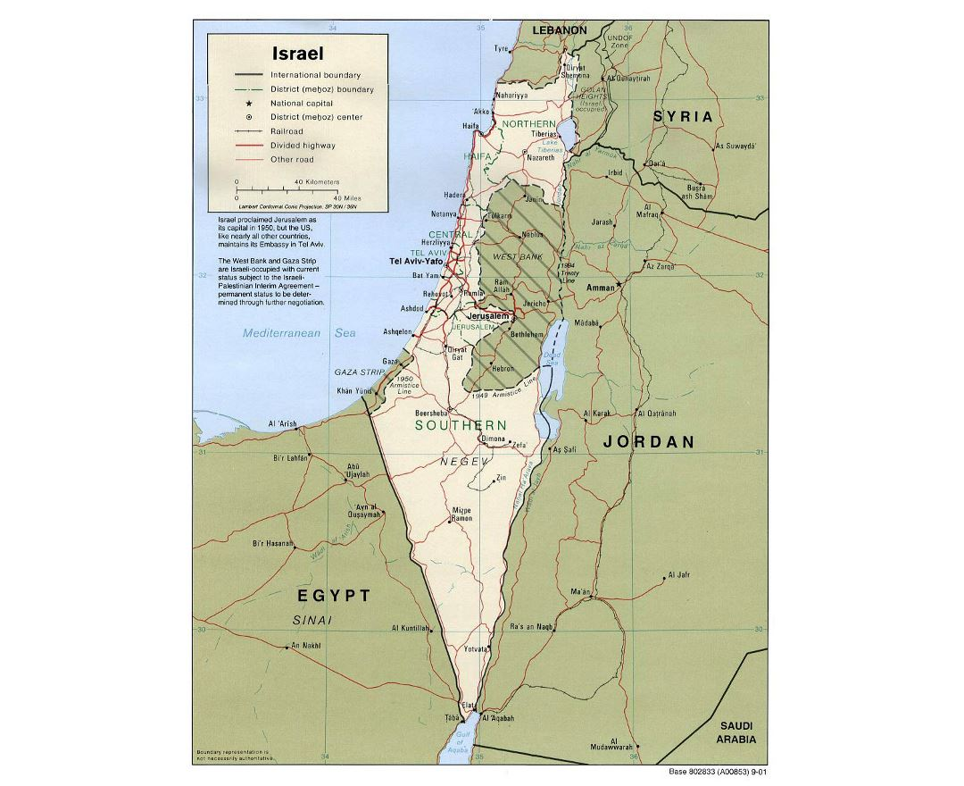 Detailed political and administrative map of Israel with roads, railroads and major cities - 2001