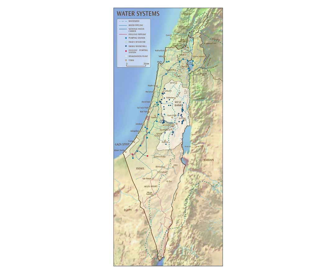 Detailed water systems map of Israel