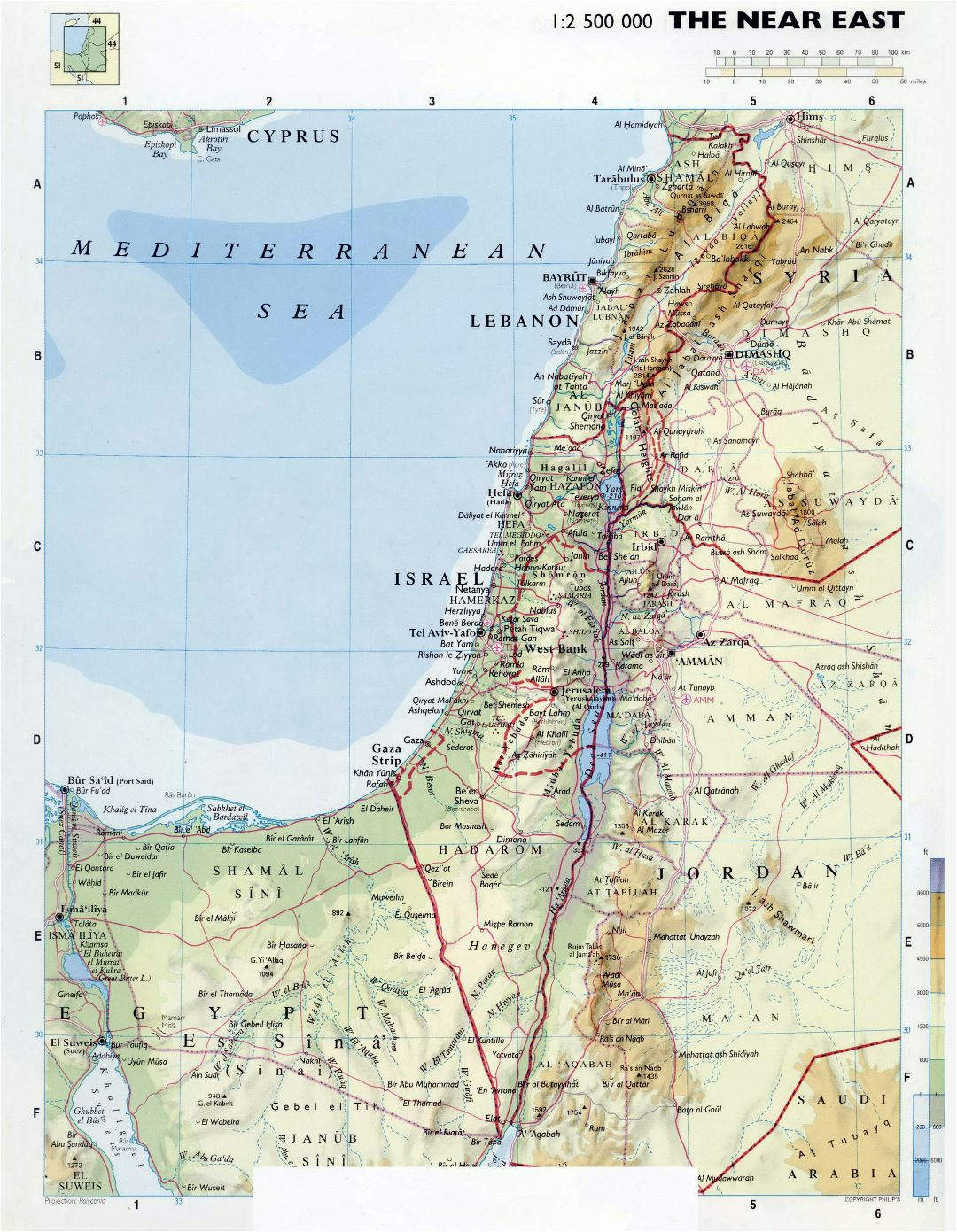 Large detailed physical map of Israel