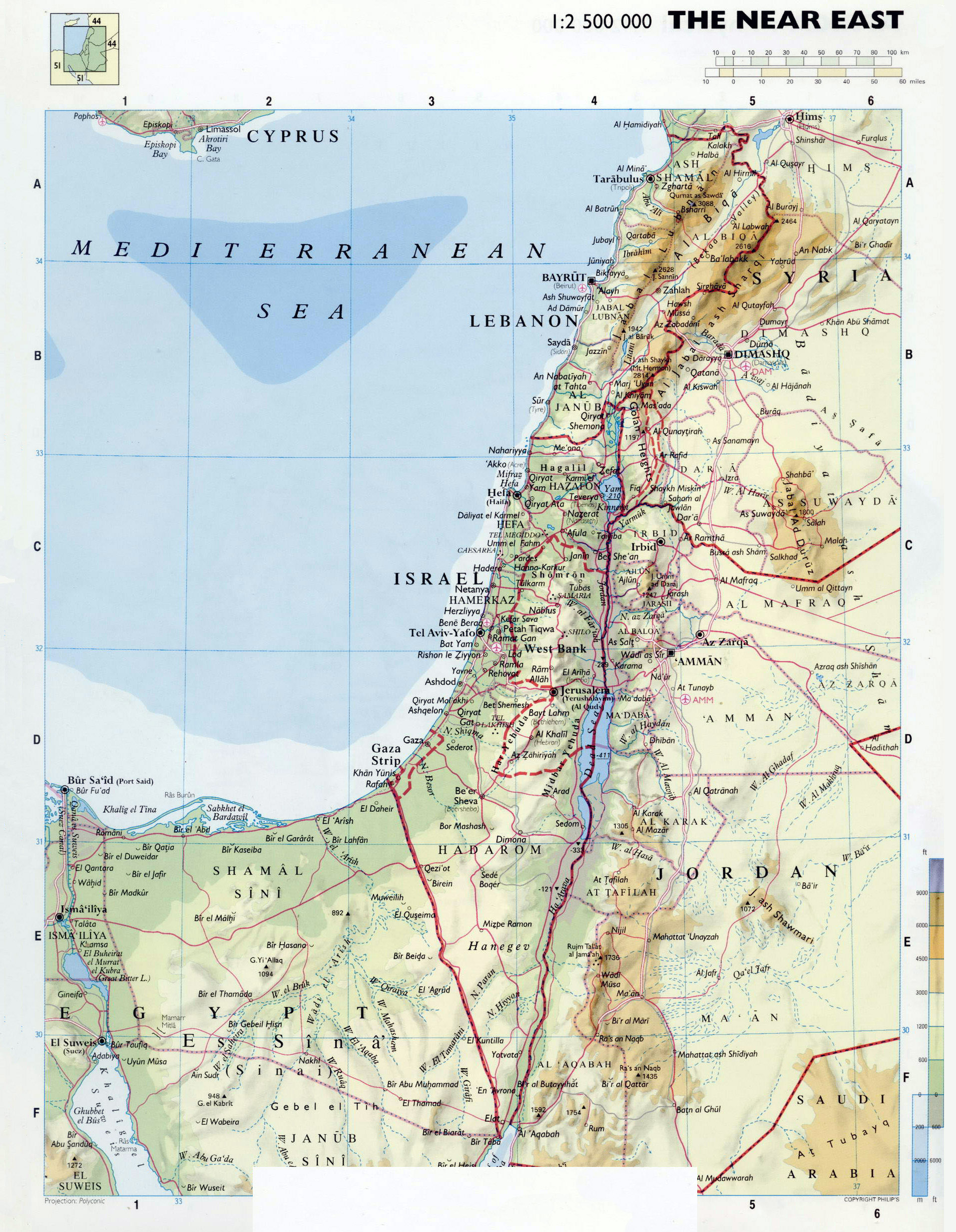 Large detailed physical map of Israel Israel Asia Mapsland