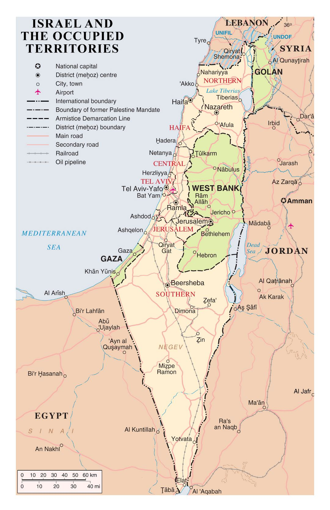 Large detailed political and administrative map of Israel and the occupied territories with roads, cities, airports and other marks