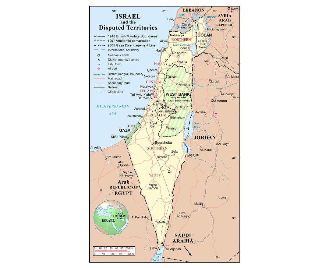 Large detailed political and administrative map of Israel with disputed territories
