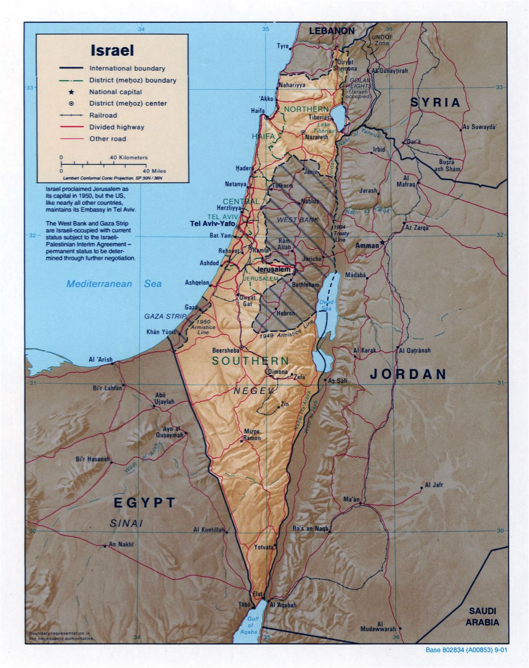 Large detailed political and administrative map of Israel with relief, roads, railroads and major cities - 2001