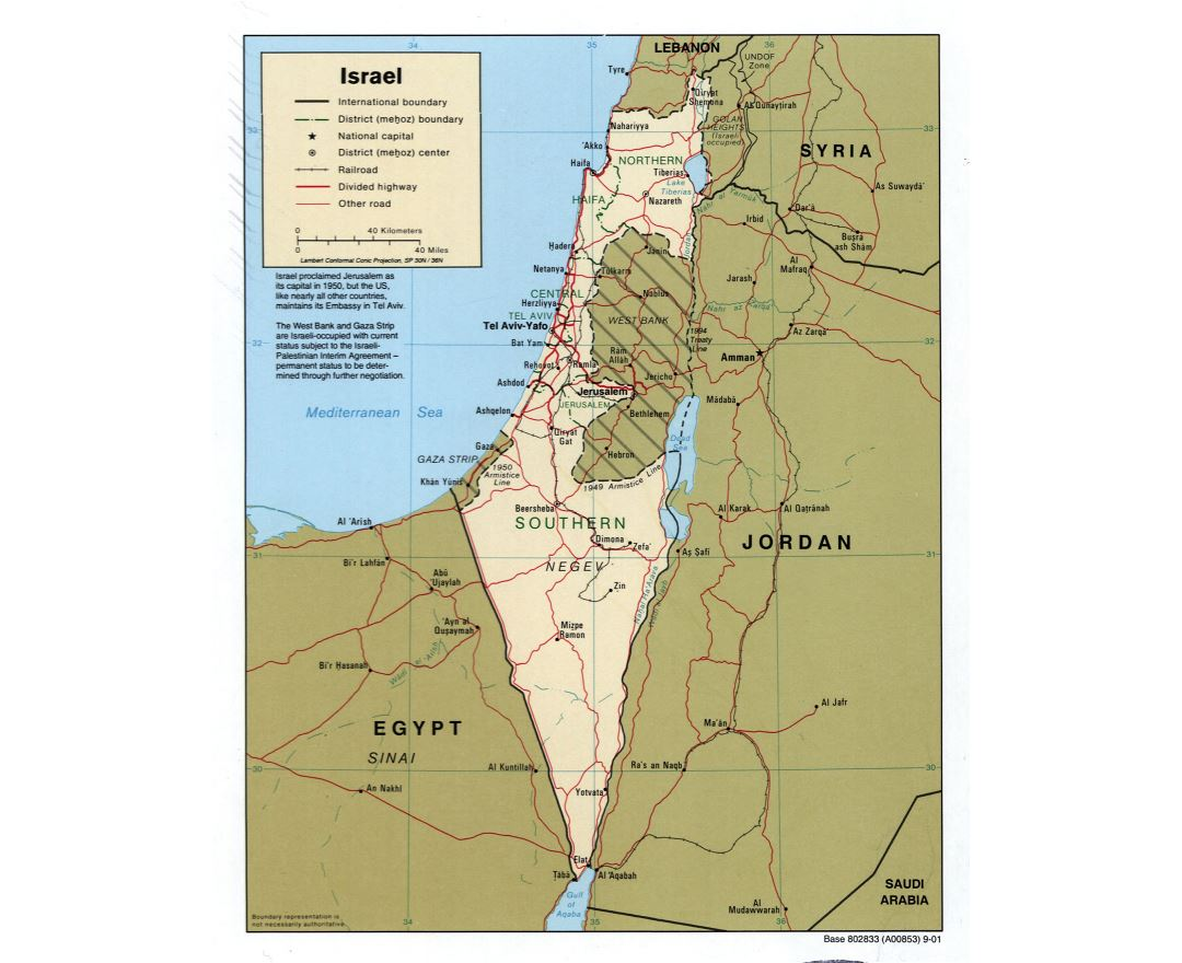 Large detailed political and administrative map of Israel with roads, railroads and major cities - 2001