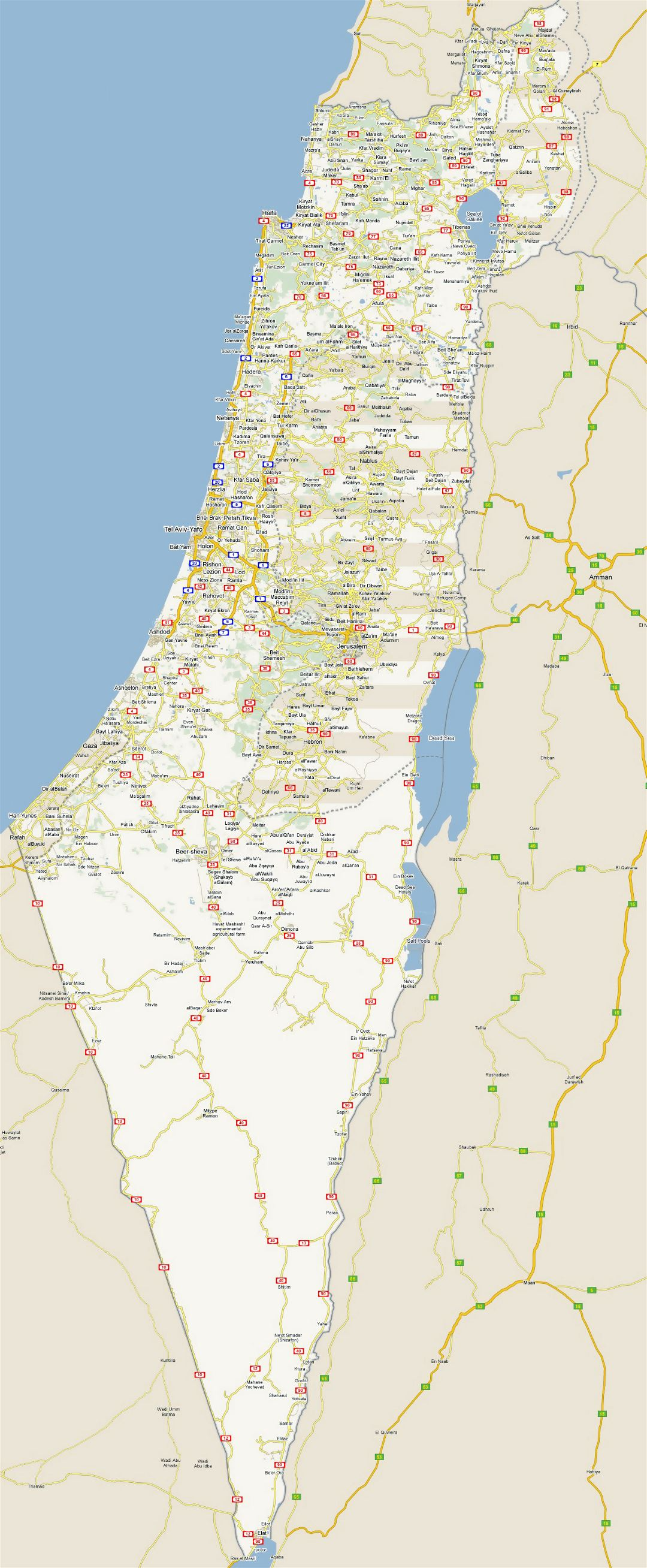 Large detailed road map of Israel with all cities
