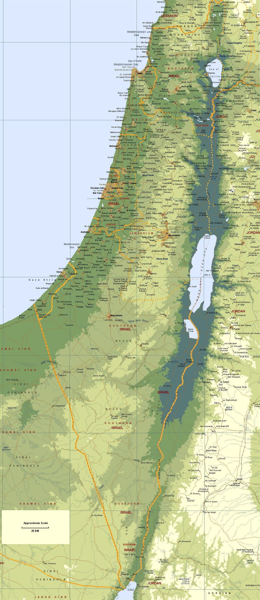 Large elevation map of Israel with roads and cities