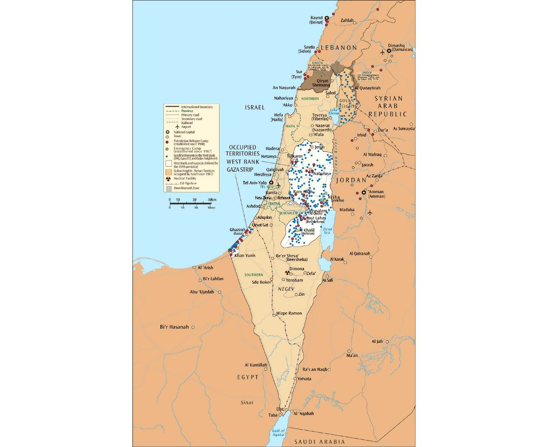 Large map of Israel and the occupied territories