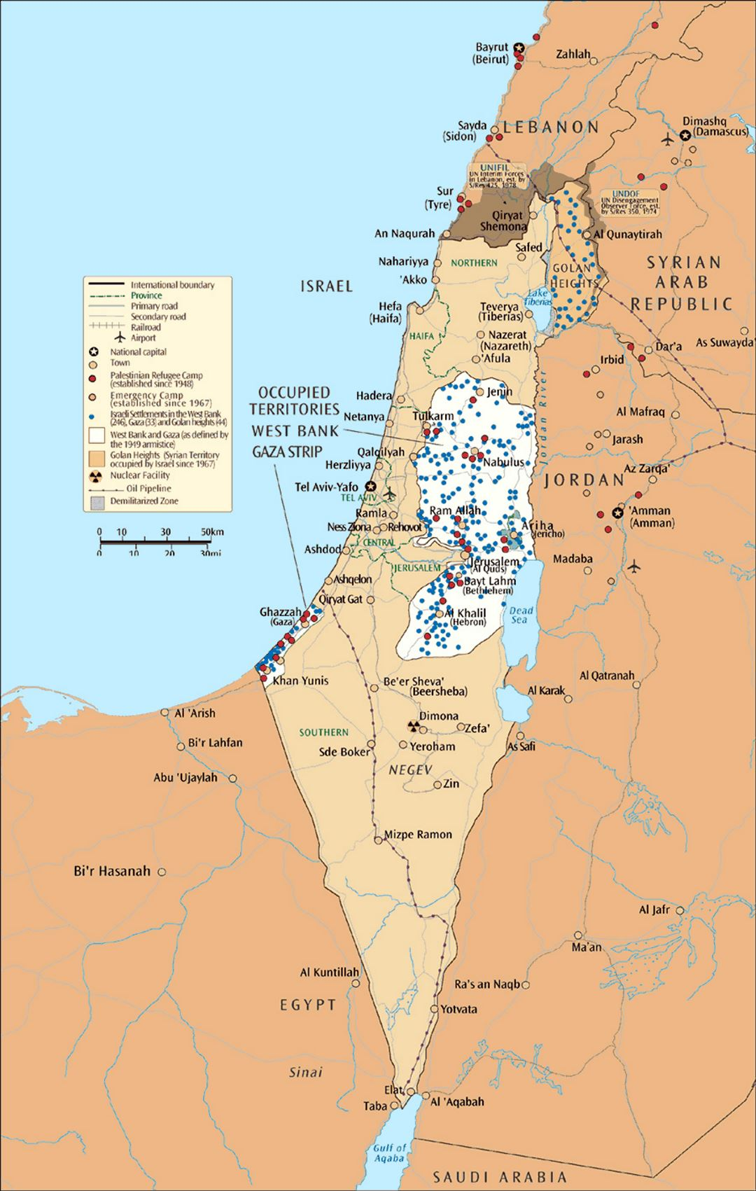 Large map of Israel and the occupied territories Israel Asia