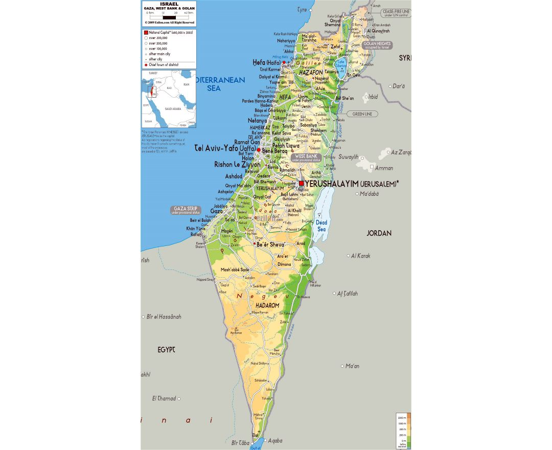 Large physical map of Israel with roads, cities and airports