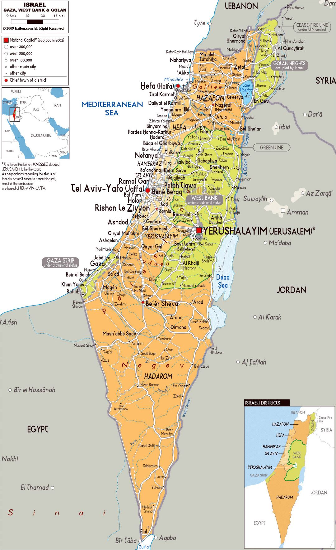 Large political and administrative map of Israel with roads, cities and airports