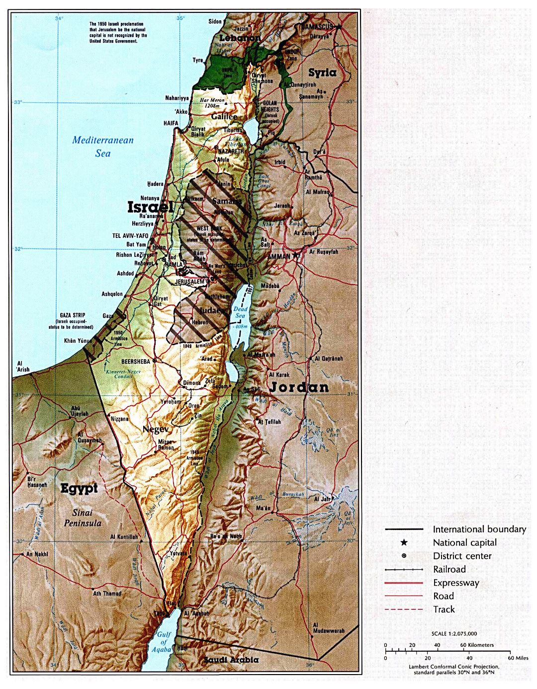 Large political map of Israel with relief, roads, railroads and major cities