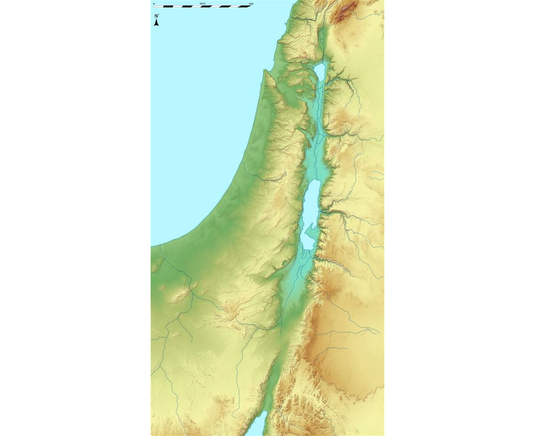 Large relief map of Israel