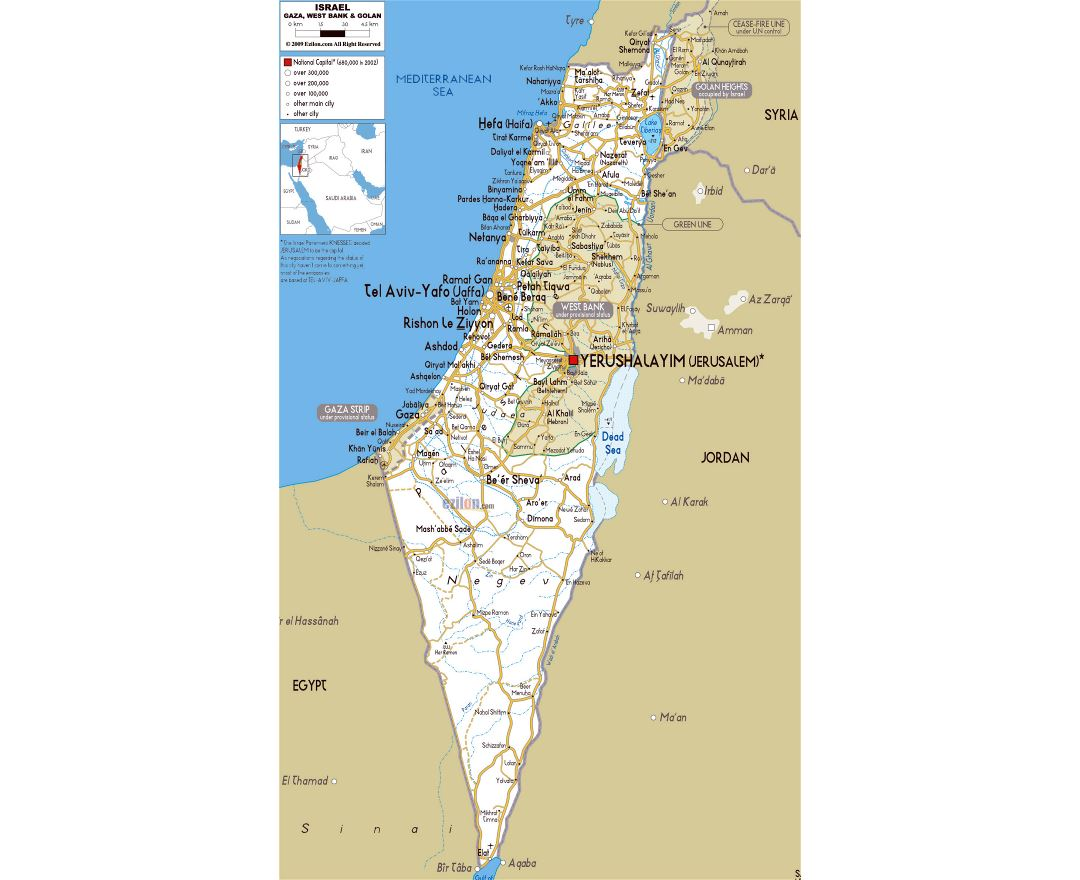 Large road map of Israel with cities and airports