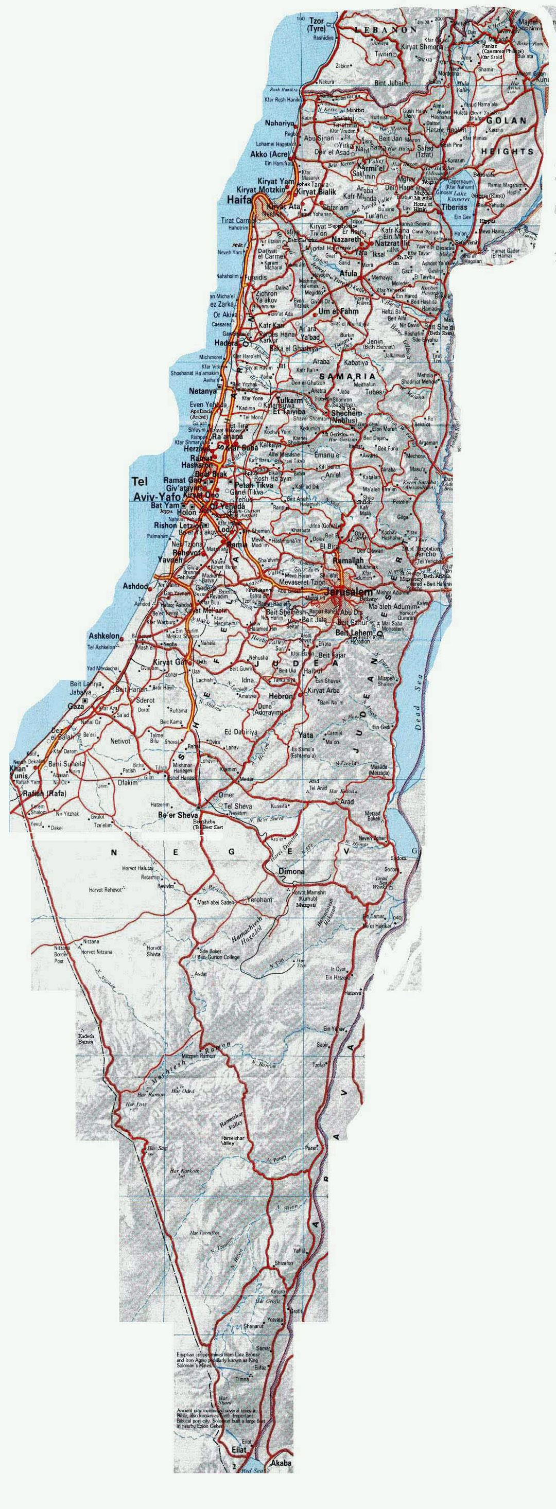Large road map of Israel with relief and cities