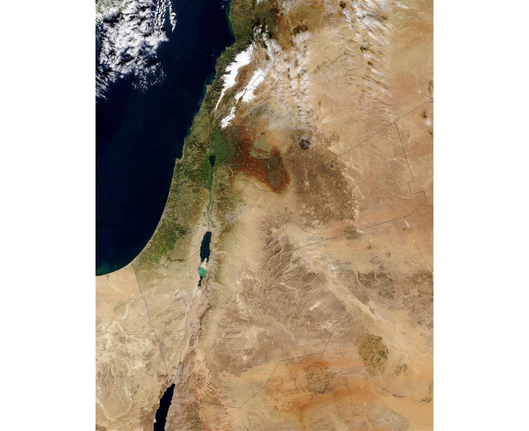 Large satellite map of Israel