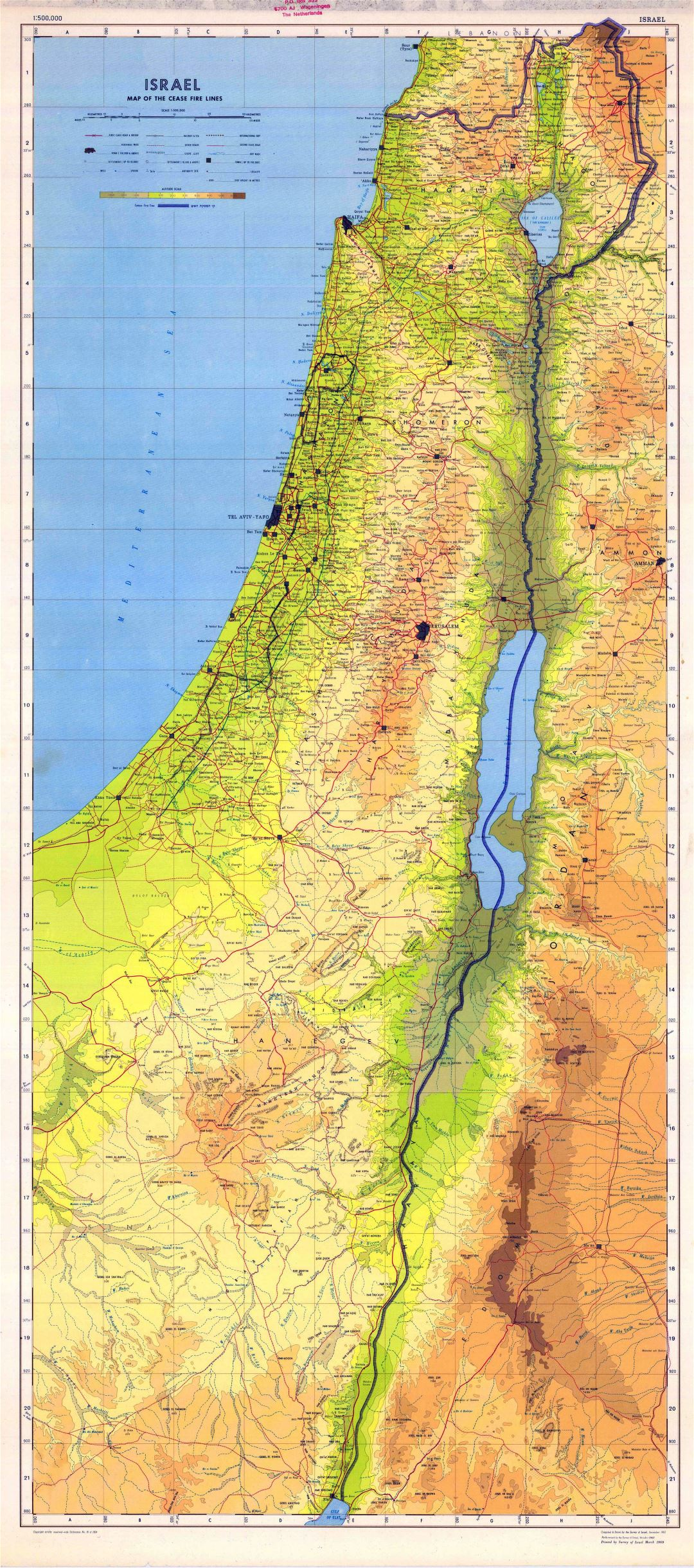 Large scale detailed physical map of Israel with all roads, cities and other marks
