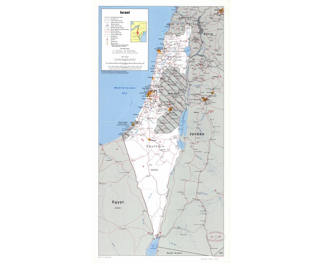 Large scale political and administrative map of Israel with roads, railroads, cities, ports, airports and other marks - 1988