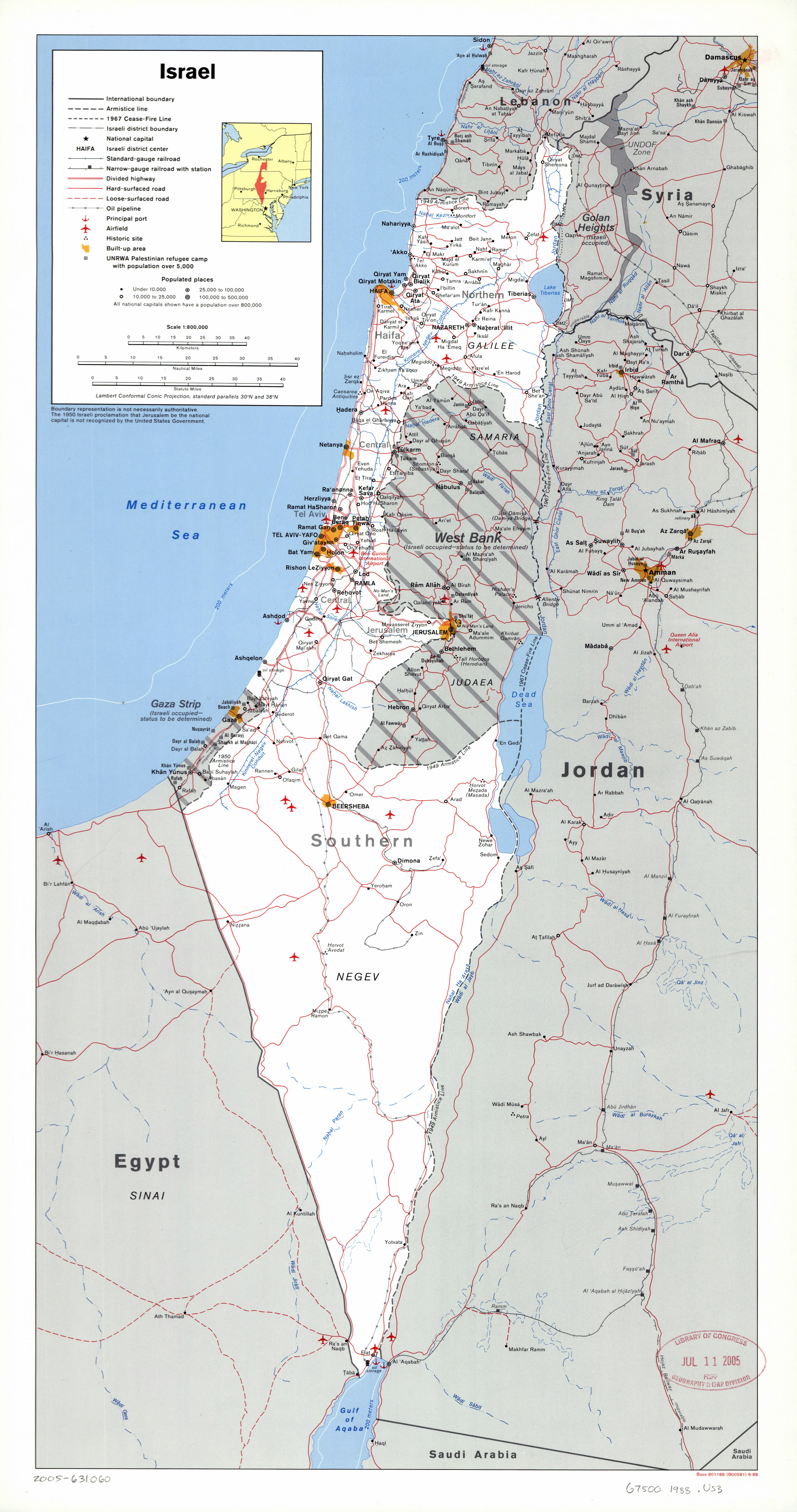 Large scale political and administrative map of Israel with roads