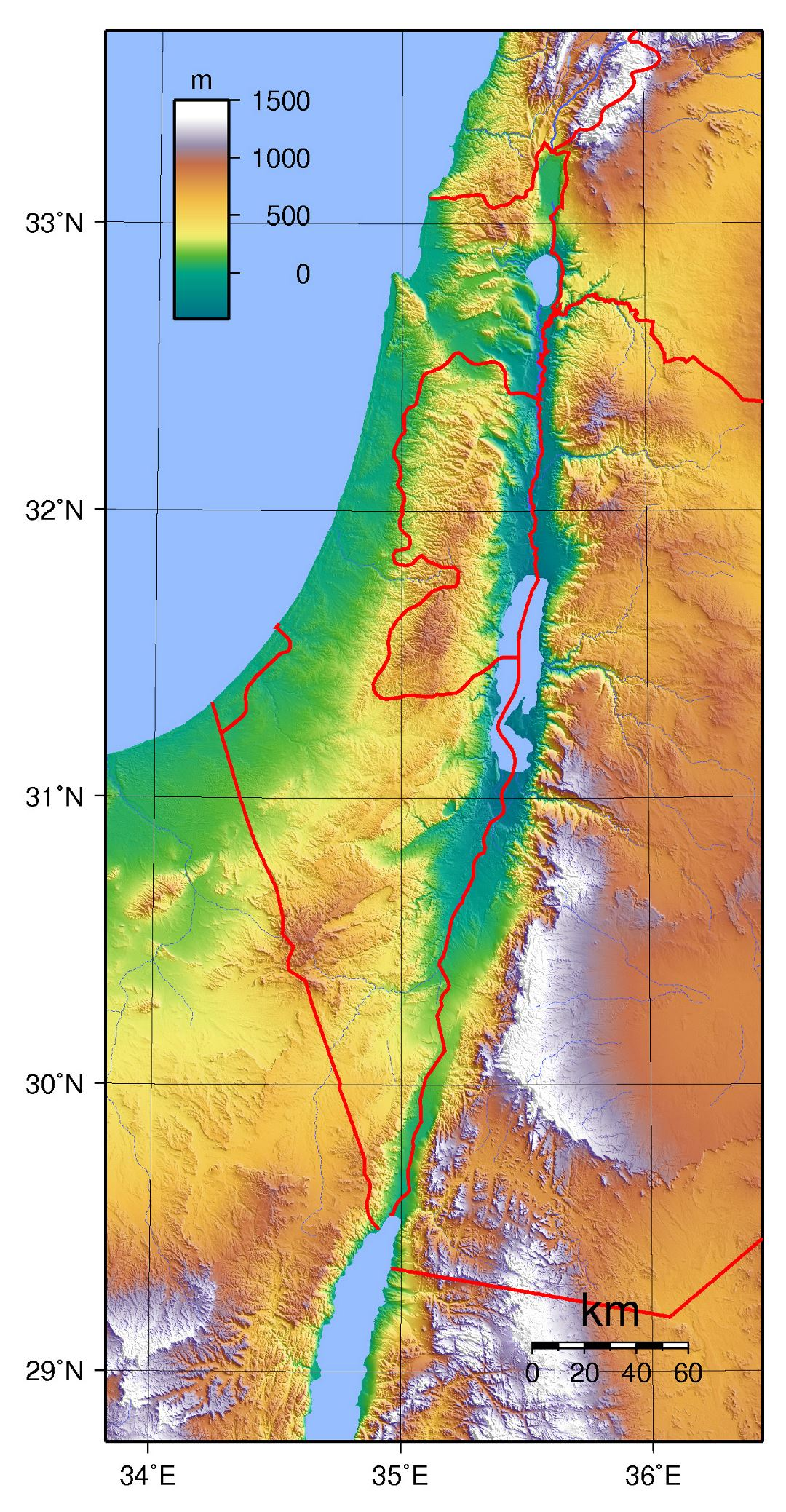 Large topographical map of Israel