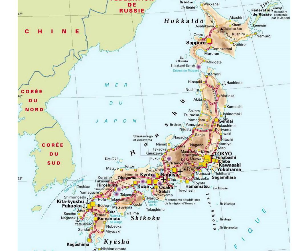 Detailed elevation map of Japan with roads, cities and airports