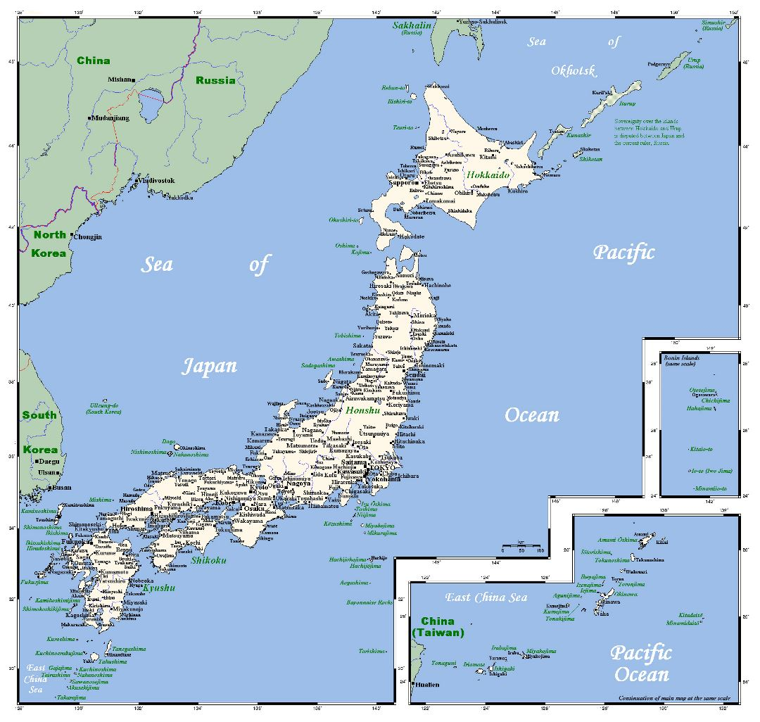 Detailed map of Japan with cities