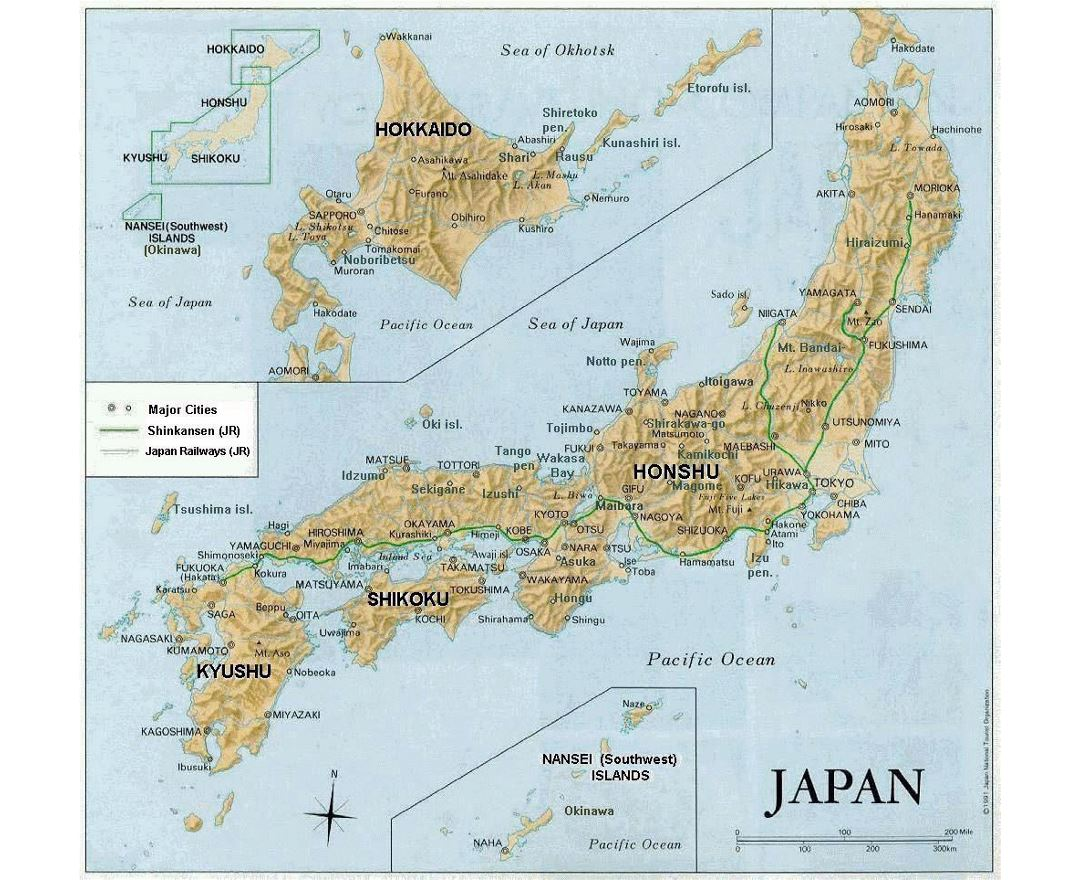 Detailed relief map of Japan with major roads and cities