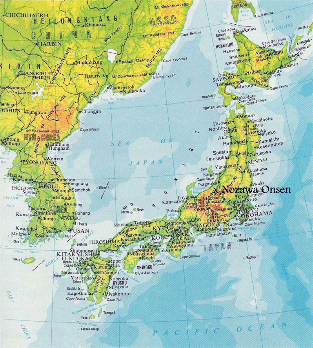 Elevation Map Of Japan With Roads And Cities Japan Asia - Japan map of cities