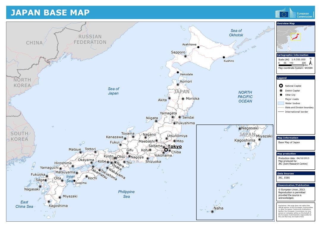 Large Detailed Base Map Of Japan Japan Asia Mapsland Maps - Japan map bodies of water