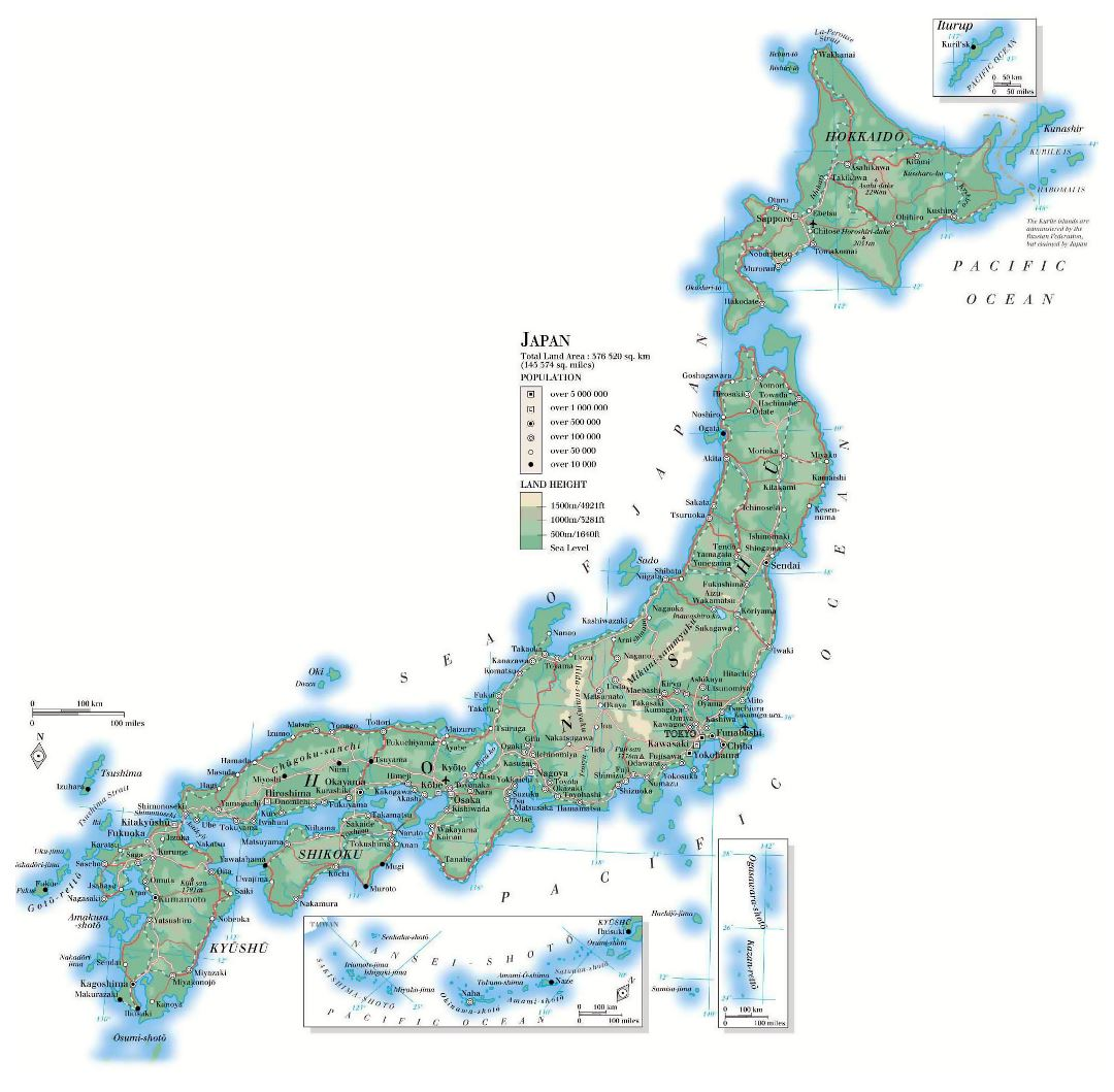 Large detailed elevation map of Japan with roads, cities and airports