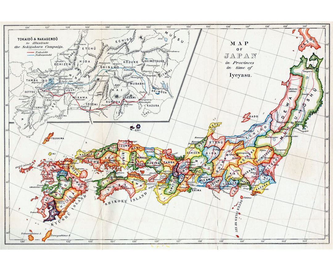 Large detailed old administrative map of Japan in english