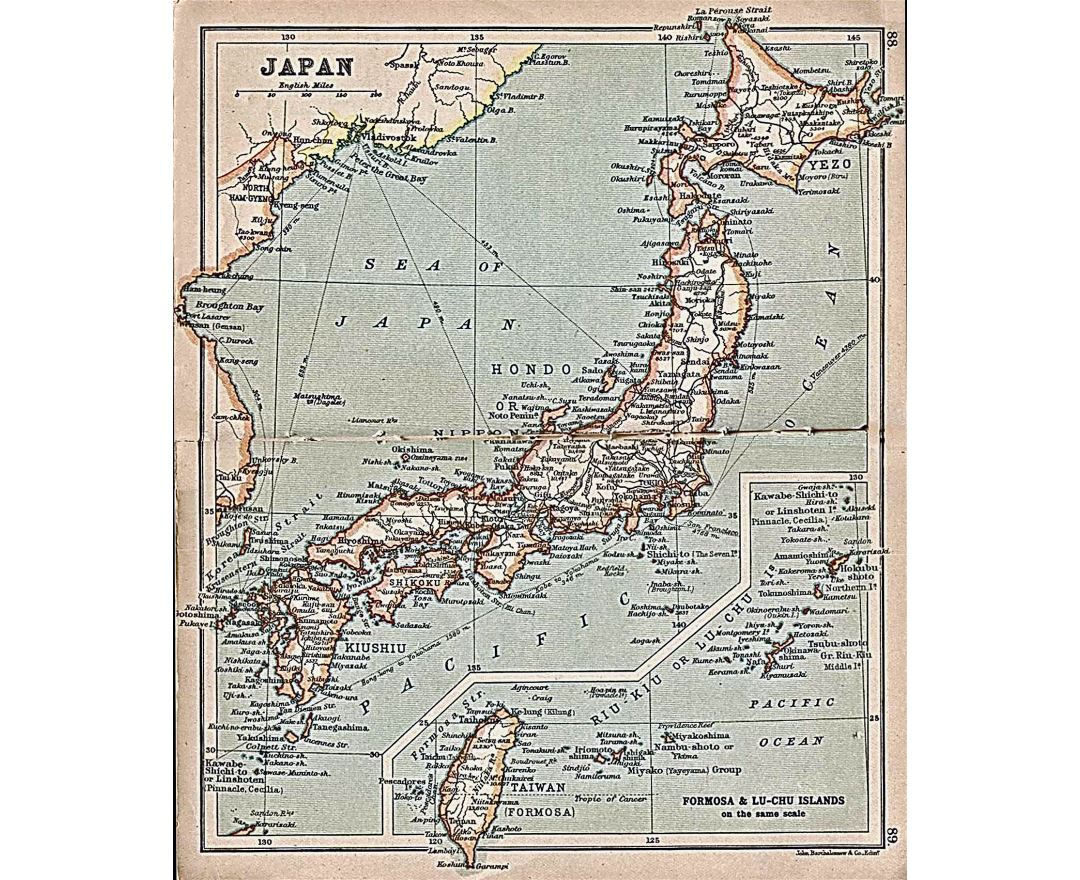 Large detailed old map of Japan with roads and cities - 1911