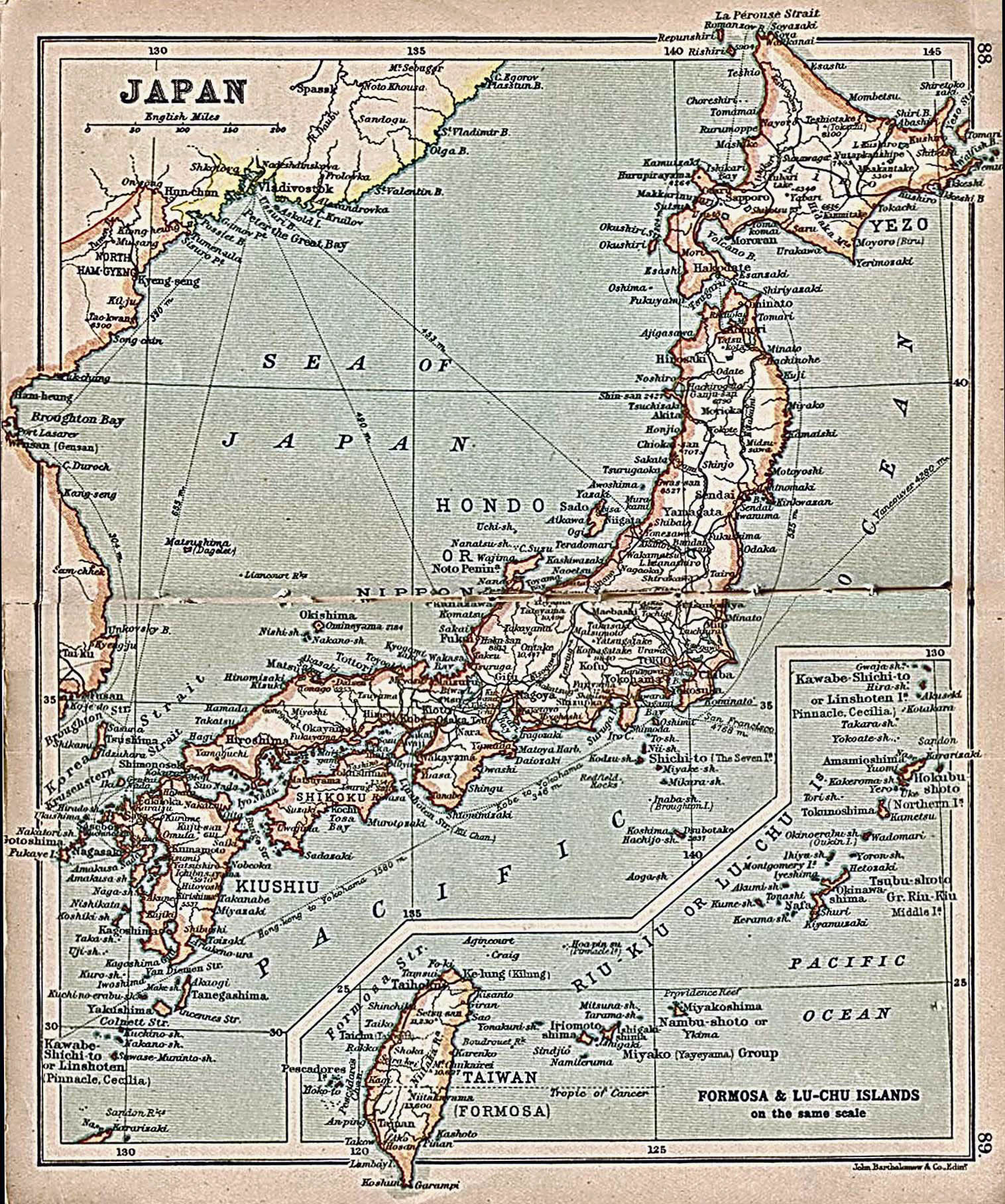 Large detailed old map of Japan with roads and cities 1911 Japan
