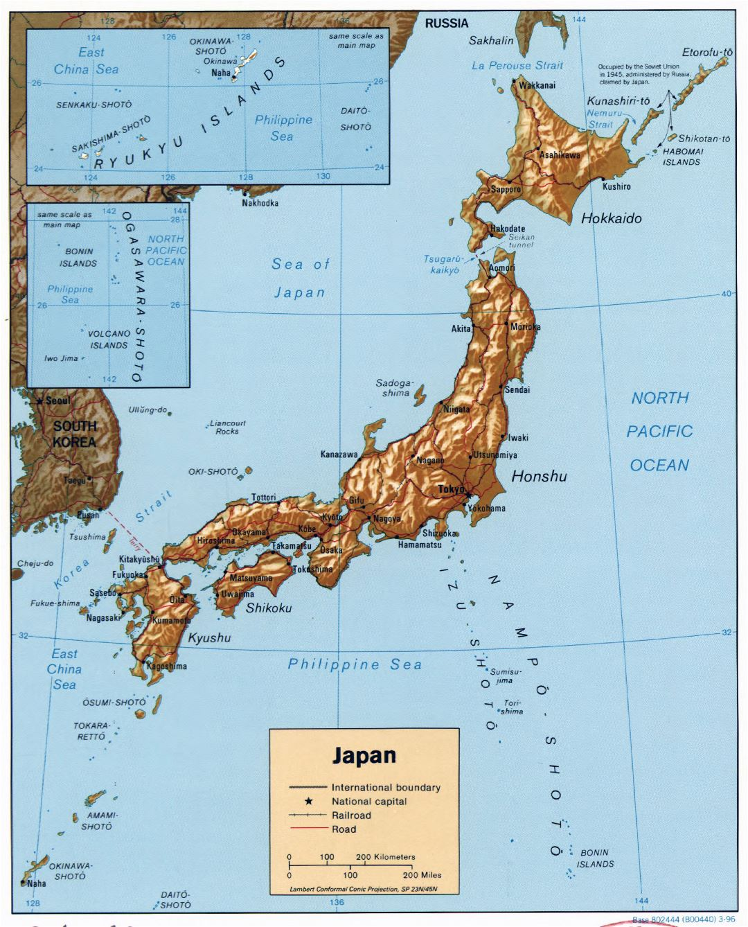 Large detailed political map of Japan with relief, roads, railroads and major cities - 1996