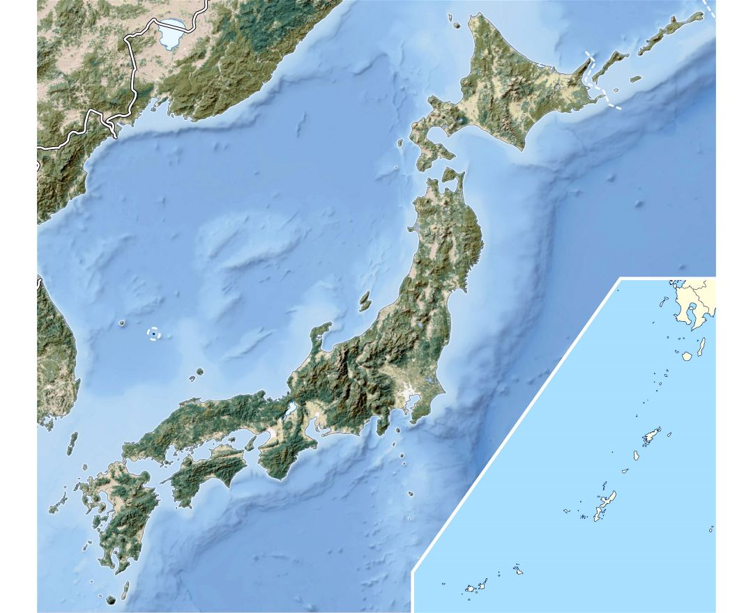 Large detailed relief map of Japan