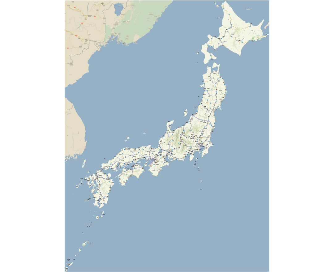Large detailed road map of Japan in japanese