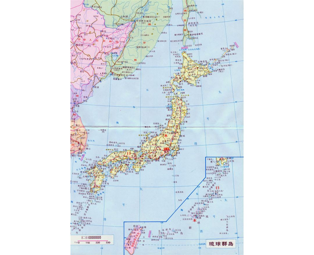 Large detailed road map of Japan with cities in japanese