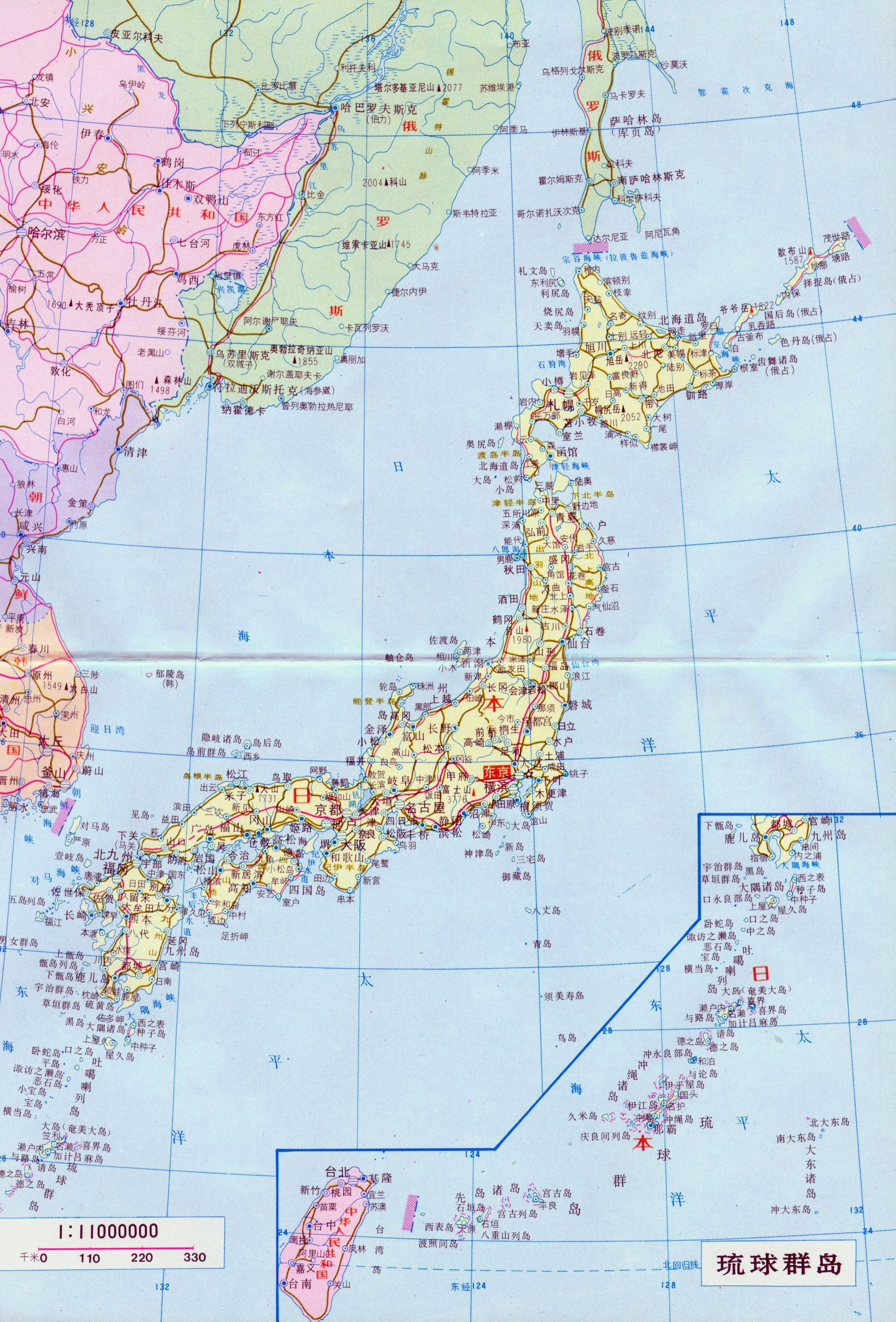 Large detailed road map of Japan with cities in japanese Japan