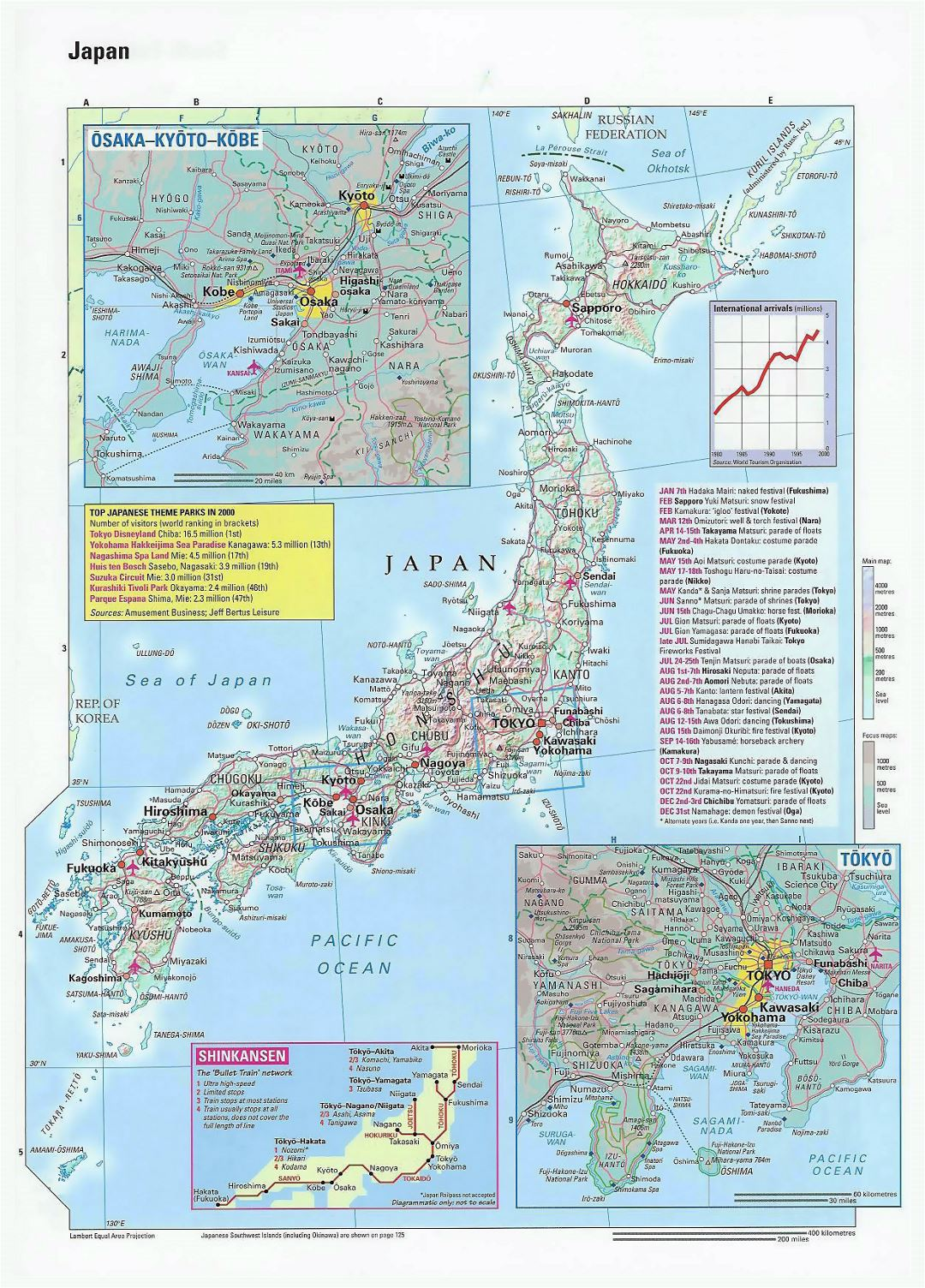 Large map of Japan with relief, roads, cities and airports