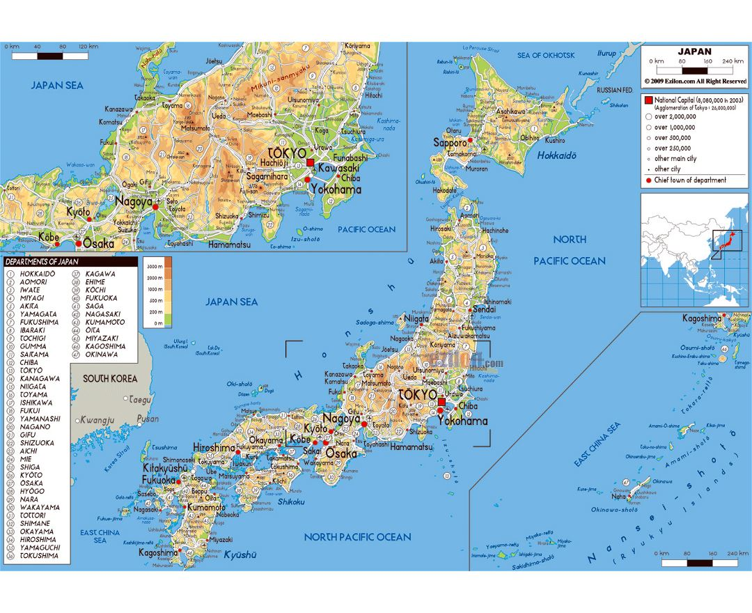 Large physical map of Japan with roads, cities and airports
