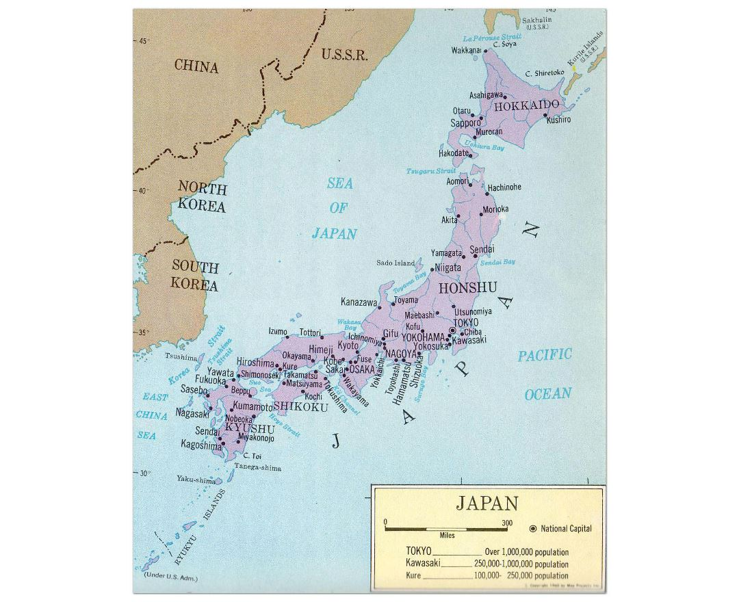 large political map of japan with major cities 1965
