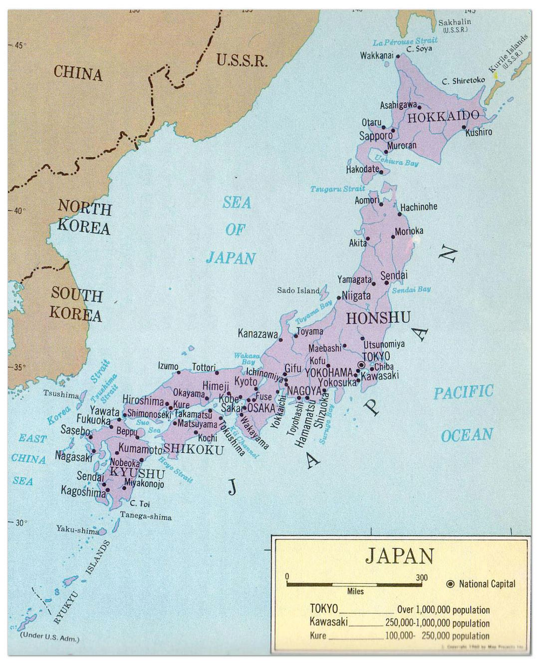 Large political map of Japan with major cities - 1965
