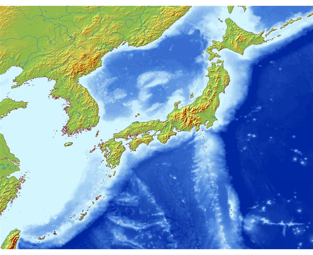 Large relief map of Japan