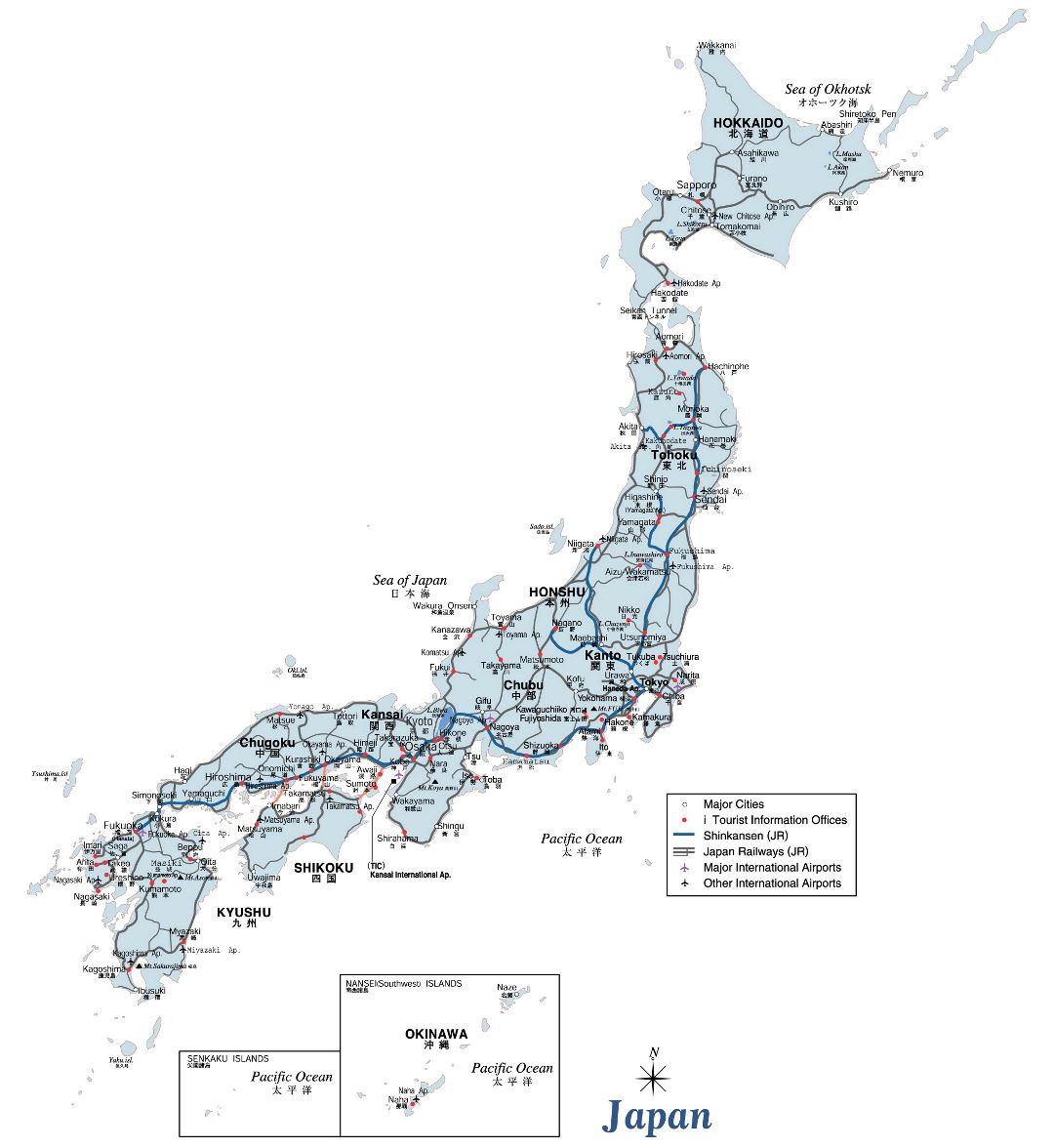 Large road map of Japan