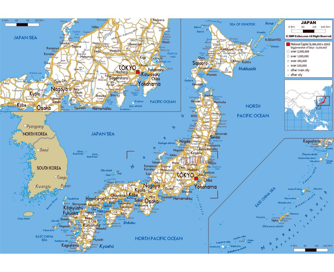 Large road map of Japan with cities and airports
